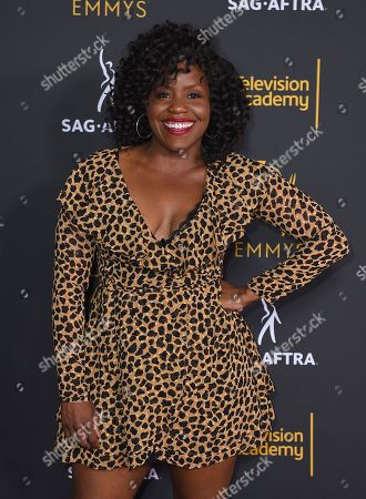 Haneefah Wood arrives at the 2018 Dynamic and Diverse Emmy Nominee Reception presented by the Television Academy, in North Hollywood, Calif