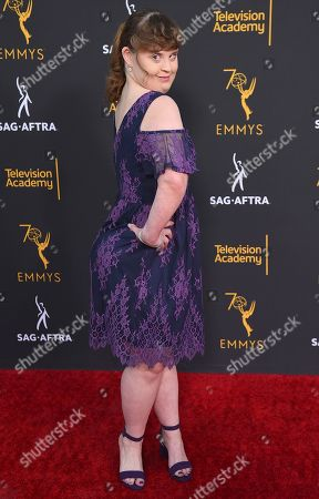 Jamie Brewer arrives at the 2018 Dynamic and Diverse Emmy Nominee Reception presented by the Television Academy, in North Hollywood, Calif