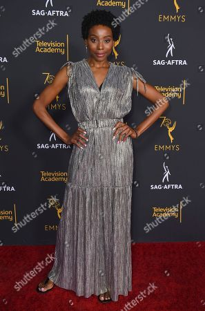 Erica Ash arrives at the 2018 Dynamic and Diverse Emmy Nominee Reception presented by the Television Academy, in North Hollywood, Calif