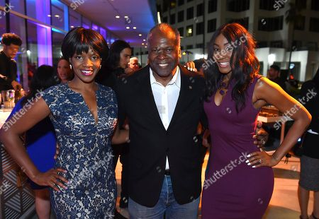 Kelsey Scott, Kim Estes, Tanjareen Thomas. Kelsey Scott, from left, Kim Estes and Tanjareen Thomas attend the 2018 Dynamic and Diverse Emmy Nominee Reception presented by the Television Academy, in North Hollywood, Calif