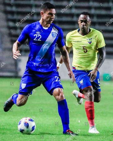 Guatemala national team player Carlos Eduardo Gallardo (L) controls the ball in front of Ecuador midfielder Renato Ibarra (R) in the first half of their friendly soccer match at Toyota Park in Bridgeview, Illinois, USA, 11 September 2018.
