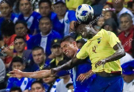 Ecuador defender Juan Carlos Paredes (R) and Guatemala's defender Carlos Eduardo Gallardo (L) compete for the ball in the second half of their friendly soccer match at Toyota Park in Bridgeview, Illinois, USA, 11 September 2018. Ecuador won the match.