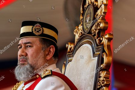 Malaysia's King Sultan Muhammad V attends the Trooping of Colours ceremony, in conjunction with his official birthday, in Putrajaya, Malaysia, 12 September 2018. The Trooping of Colours is a demonstration of respect and honor to the king and the country by the Malaysian armed forces.