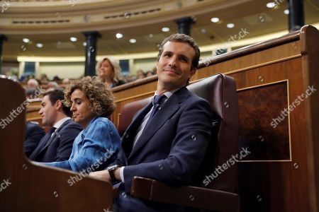 Leader of Spanish People's Party (PP), Pablo Casado (R), and the party's spokeswoman at Parliament, Dolors Montserrat (2R), attend question time at the Lower House in Madrid, Spain, 12 September 2018.