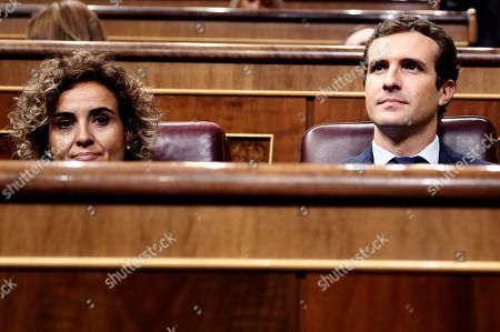 Leader of Spanish People's Party (PP), Pablo Casado (R), and the party's spokeswoman at Parliament, Dolors Montserrat (L), attend question time at the Lower House in Madrid, Spain, 12 September 2018.