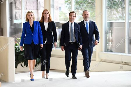 The Swedish 'Alliansen' party leaders (L-R) Ebba Busch Thor (Christian Democrats), Annie Loof (Centre), Ulf Kristersson (Moderate) and Jan Bjorklund (Liberals) arrive for a media conference in the Swedish parliment in Stockholm, 12 September 2018. Neither the Swedich centre-left bloc of Social Democrats and Greens nor the centre-right Alliance bloc obtained a majority in the 09 September general elections, with the far-right Sweden Democrats becoming the third largest party.