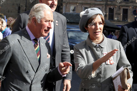 Prince Charles and the Duchess of Northumberland, during his visit to a farmers' market in Hexham as he carries out a series of engagements in Northumberland.