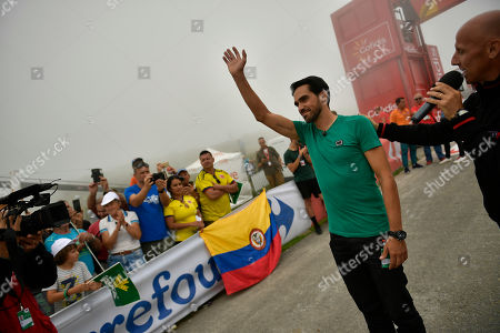 Stock Photo of Spain La Vuelta former champion cyclist, Alberto Contador, waves fans during the 17th stage between Getxo and Balcon de Vizcaya, 157 kilometers (97,55miles), of the Spanish Vuelta cycling race that finishes in Balcon de Vizcaya, northern Spain, Wednesday, Sept.12, 2018