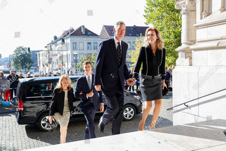 Stock Photo of Prince Paul-Louis of Luxembourg / Hereditary Grand Duke Guillaume of Luxembourg of Luxembourg / Princess Sibilla of Luxembourg