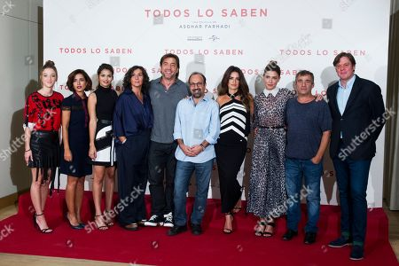 Carla Campra, Inma Cuesta, Sara Salamo, Elvira Minguez, Javier Bardem, Asghar Farhadi, Penelope Cruz, Barbara Lennie and Eduard Fernandez