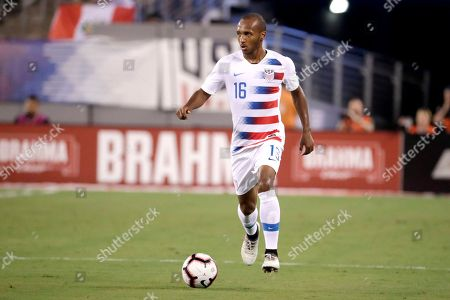 United States midfielder Julian Green in action against Brazil during the first half of an international soccer friendly match, in East Rutherford, N.J