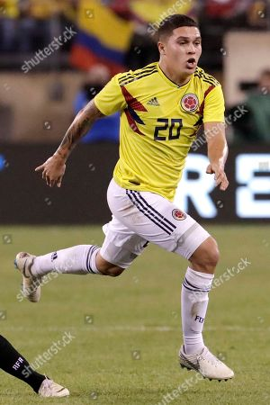 Colombia's Juan Fernando Quintero in action against Argentina during the first half of a international soccer friendly match, in East Rutherford, N.J