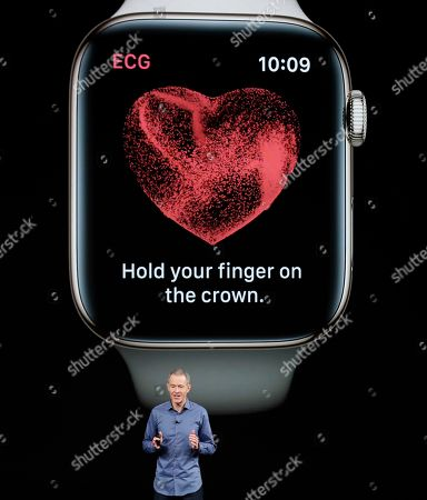 Stock Image of Jeff Williams, Apple's chief operating officer, speaks about the Apple Watch Series 4 at the Steve Jobs Theater during an event to announce new Apple products, in Cupertino, Calif