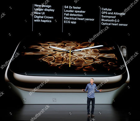 Stock Picture of Jeff Williams, Apple's chief operating officer, speaks about the Apple Watch Series 4 at the Steve Jobs Theater during an event to announce new Apple products, in Cupertino, Calif