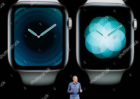 Stock Photo of Jeff Williams, Apple's chief operating officer, speaks about the Apple Watch Series 4 at the Steve Jobs Theater during an event to announce new Apple products, in Cupertino, Calif