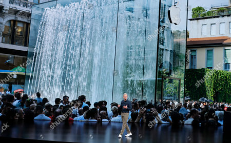 Apple CEO Tim Cook speaks at the Steve Jobs Theater during an event to announce new Apple products, in Cupertino, Calif