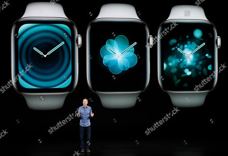 Jeff Williams, Apple's chief operating officer, speaks about the Apple Watch Series 4 at the Steve Jobs Theater during an event to announce new Apple products, in Cupertino, Calif