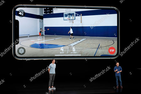CEO and founder of HomeCourt David Lee, right, and former NBA player Steve Nash talk about the Apple iPhone XS at the Steve Jobs Theater during an event to announce new Apple products, in Cupertino, Calif