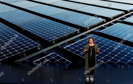 Lisa Jackson, Vice President of Environment, Policy, and Social Initiatives speaks at the Steve Jobs Theater during an event to announce new products, in Cupertino, Calif