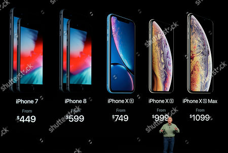 Phil Schiller, Apple's senior vice president of worldwide marketing, speaks about the new Apple iPhone XS, iPhone XS Max and the iPhone XR at the Steve Jobs Theater during an event to announce new Apple products, in Cupertino, Calif