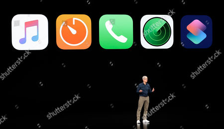 Apple CEO Tim Cook discusses the new Apple products at the Steve Jobs Theater during an event to announce new products, in Cupertino, Calif