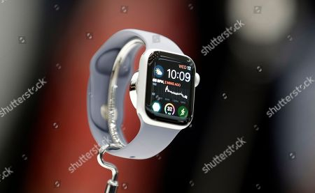 Stock Picture of The new Apple Watch 4 is on display at the Steve Jobs Theater during an event to announce new products, in Cupertino, Calif