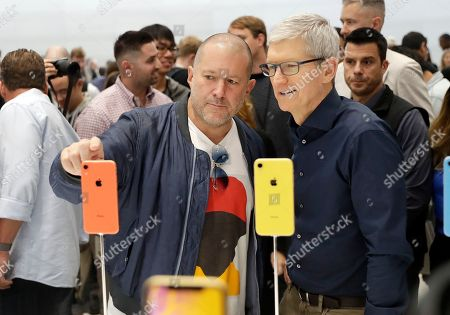 Jonathan Ive, Tim Cook. Jonathan Ive, Apple's chief design officer, left, looks at some new iPhone models with CEO Tim Cook during an event to announce new products, in Cupertino, Calif