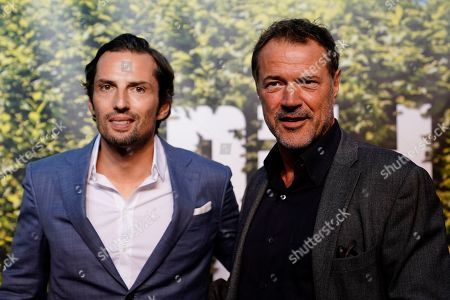 German actors Quirin Berg (L) and Sebastian Koch (R) attend the 'BILD100 summer party' event in Berlin, Germany, 12 September 2018. 100 of the most important decision-makers from politics and business as well as well-known personalities from sports, art and culture are expected at the event held by Germany's highest-circulation newspaper BILD.