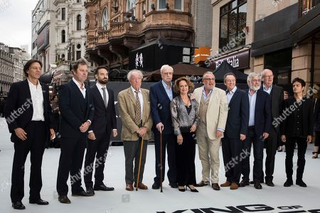 James Marsh, Joe Penhall, Charlie Cox, Michael Gambon, Michael Caine, Francesca Annis, Ray Winstone, Paul Whitehouse, Tom Courtenay, Jim Broadbent. From left, director James Marsh, screenwriter Joe Penhall, actors Charlie Cox, Michael Gambon, Michael Caine, Francesca Annis, Ray Winstone, Paul Whitehouse, Tom Courtenay and Jim Broadbent pose for photographers upon arrival at the world premiere of the film 'King of Thieves', in London