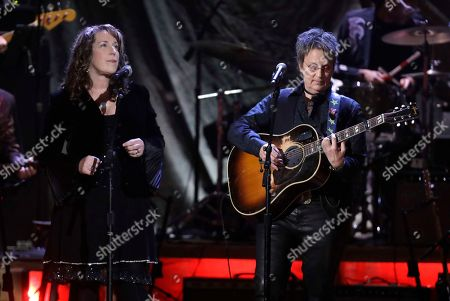 Beth Nielsen Chapman, left, and Mary Gauthier perform during the Americana Honors and Awards show, in Nashville, Tenn