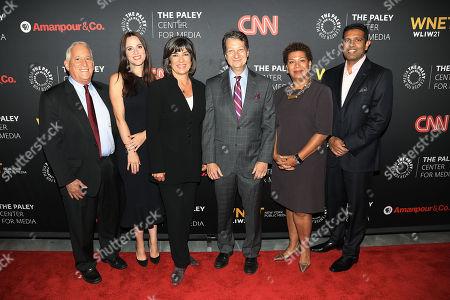 Stock Image of Walter Isaacson, Alicia Menendez, Christiane Amanpour, Michel Martin and Hari Sreenivasan
