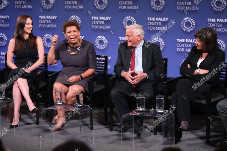 Alicia Menendez, Michel Martin, Walter Isaacson and Christiane Amanpour