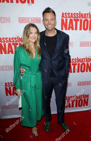 """Sarah Williams, Joel McHale. Sarah Williams, left, and Joel McHale arrive at the LA Premiere of """"Assassination Nation"""" at the ArcLight Hollywood, in Los Angeles"""