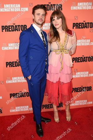 """Boyd Holbrook, Tatiana Pajkovic. Boyd Holbrook, left, and Tatiana Pajkovic attend a special screening of """"The Predator"""" at Grauman's Egyptian Theatre, in Los Angeles"""