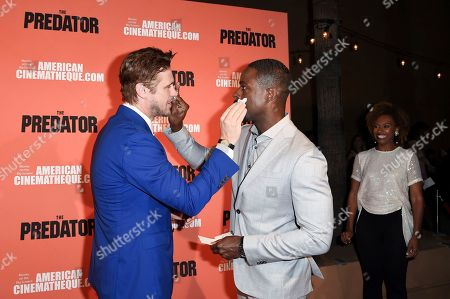 """Boyd Holbrook, Sterling K. Brown, Ryan Michelle Bathe. Boyd Holbrook, from left, Sterling K. Brown and Ryan Michelle Bathe attend a special screening of """"The Predator"""" at Grauman's Egyptian Theatre, in Los Angeles"""