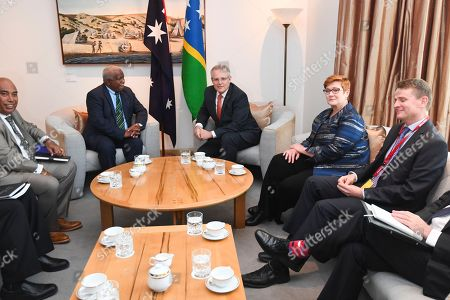 Stock Picture of Australian Prime Minister Scott Morrison (3-L) speaks with Prime Minister of Solomon Islands Rick Houenipwela (2-L) during a bilateral meeting at Parliament House in Canberra, Australia, 13 September 2018.