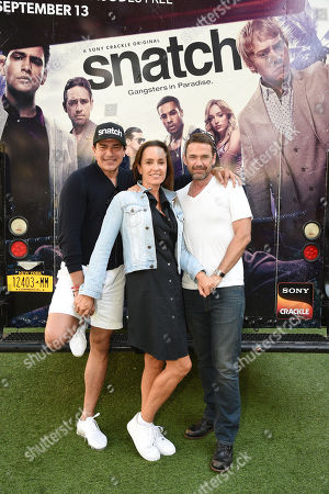 Stock Photo of Tamer Hassan Juliet Aubrey and Dougray Scott attend Sony Crackle's 'Snatch' cast visit, Los Angeles