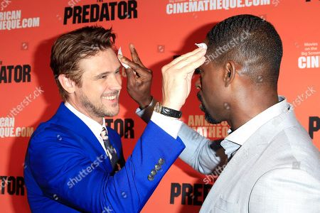 Stock Picture of US actors/cast members Boyd Holbrook (L) and Sterling K Brown powder each others faces at the screening of 20th Century Fox's 'The Predator,' at the Egyptian Theatre in Los Angeles California, USA, 12 September 2018. The film opens in the US 9 February 2018.