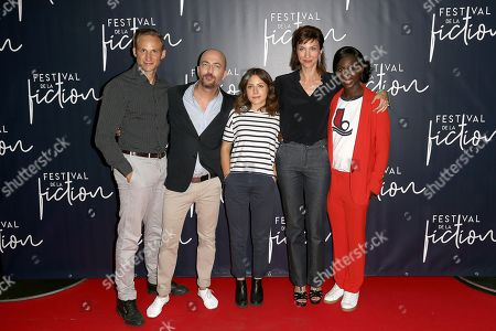 Cast of the film 'Papa ou Maman': Victor Pontecorvo, Sebastien Pierre, Marie Narbonne, Emilie Caen, Eye Haidara