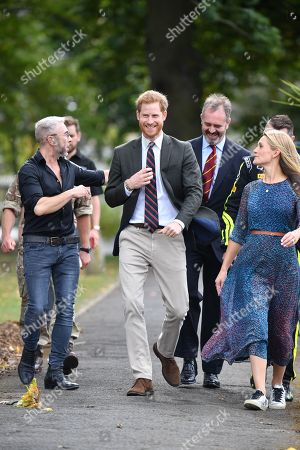 Prince Harry visits the Invictus Games Racing Founders James Holder and Charlotte Holder and Team