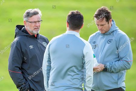 Heart of Midlothian manager Craig Levein (dark jacket) and coach Jon Daly at the Oriam Sports Performance Centre, ahead of the away match against Motherwell