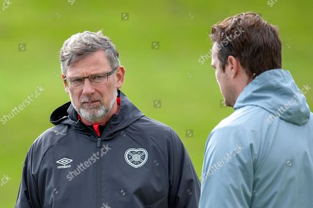 Heart of Midlothian manager Craig Levein (dark jacket) and coach Jon Daly during training at the Oriam Sports Performance Centre, ahead of the away match against Motherwell