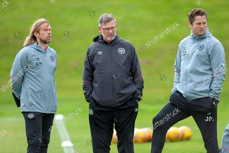 Heart of Midlothian manager Craig Levein (dark jacket), Austin Macphee (left) and coach Jon Daly during training at the Oriam Sports Performance Centre, ahead of the away match against Motherwell