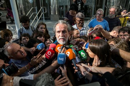 Stock Image of Spanish actor Willy Toledo (C) addresses the media after he refused to testify on the charge of insulting God and the Virgin on the social network, in Madrid, Spain, 13 September 2018. Toledo was arrested on 12 September after he refused in two times to appear before Madrid Investigating Court No. 11 following a report of the Association of Christian Lawyers for insulting God and the Virgin. Toledo has stated that he will comply any judicial decision but he considers necessary and essential to carry out an act of civil disobedience to create a debate on whether it is democratic the existence of crimes against religious feelings.