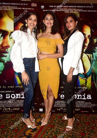 Indian film actresses Freida Pinto, Mrunal Thakur and Richa Chadda