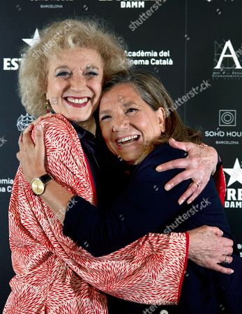 Stock Photo of Spanish actress Marisa Paredes poses for the media next to Catalan Film Academy director, Isona Passola (R), during a ceremony where the Catalan Film Academy pays homage to the artist in Barcelona, northeastern Spain, 13 September 2018.