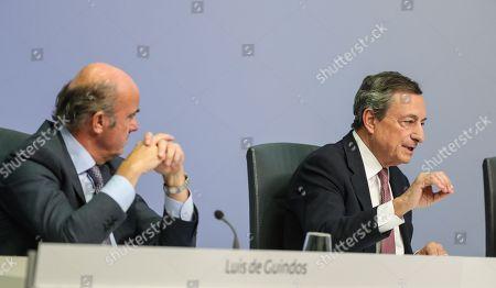 European Central Bank Press Conference Frankfurt Stockfotos