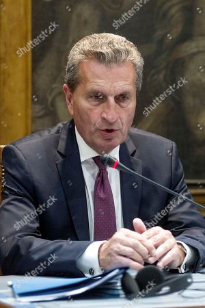 Günther Oettinger, European Commissioner for the Budget, participates in a hearing with the European Affairs and Budget Committees of the Chamber of Deputies and the Italian Senate.