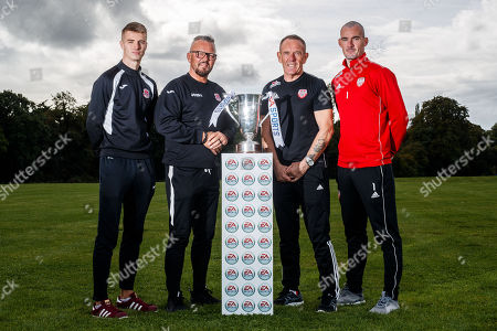 Cobh Ramblers' Chris Hull, Cobh Ramblers' manager Stephen Henderson, Derry City manager Kenny Shiels and Derry City goalkeeper Gerard Doherty