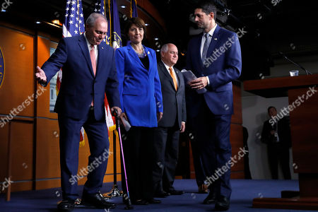 Paul Ryan, Steve Scalise, Cathy McMorris Rodgers, Ron Estes. House Majority Whip Steve Scalise, R-La., left, gestures that House Speaker Paul Ryan of Wis., at right, should go first after a news conference, in Washington. Center left is Rep. Cathy McMorris Rodgers, R-Wash., with Rep. Ron Estes, R-Kansas